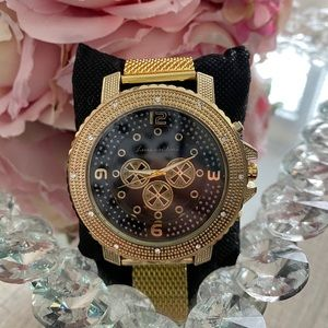 Gold big face flashy cuban watch